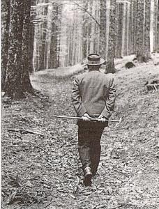 Heidegger em sua habitual caminhada pela Floresta